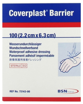 BSN Medical Coverplast Barrier 100 Waterproof Adhesive Bandages 2,2cm x 6,3cm