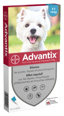 Bayer Advantix Small Dogs 4-10kg 4 Pipettes