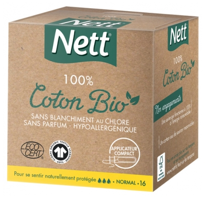 Nett 100% Organic Cotton 16 Normal Tampons With Applicator