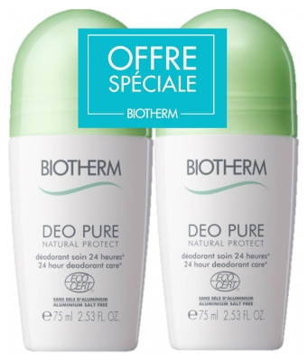 Biotherm Déo Pure Natural Protect Déodorant Soin 24H Roll-On 2 x 75 ml