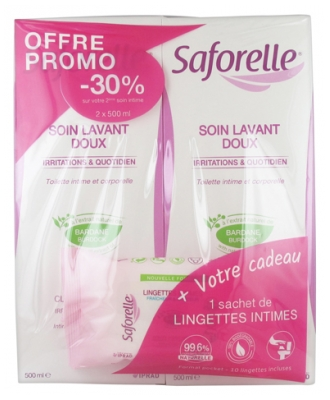 Saforelle Gentle Cleansing Care 2 x 500ml + 1 Pack of 10 Wipes Free