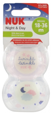 Nuk Night & Day 2 Sucettes Silicone 18-36 Mois
