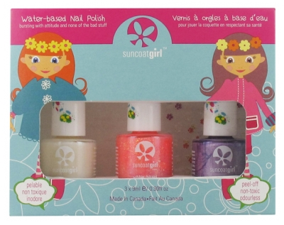 Suncoat Girl Kit 3 Esmaltes de Uñas Peel-Off a Base de Agua + 1 Pegatinas