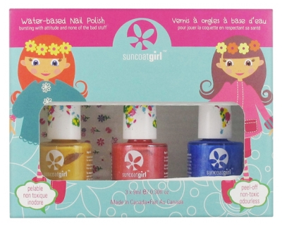 Suncoat Girl Kit 3 Nail Polishes Peel-Off Water-Based + 1 Stickers Sheet - Colour: Egg-spiration