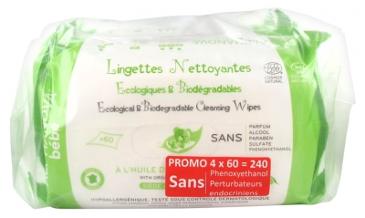Alphanova Baby Ecological and Biodegradable Cleansing Wipes 4 x 60 Wipes