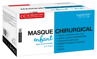 Orgakiddy Masque Chirurgical Type 1 pour Enfant 50 Masques