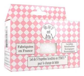Oh qu'il est bio 5 Washable Wipes in Tencel for the Baby Change