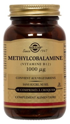 Solgar Methylcobalamine (Vitamin B12) 1000µg 30 Tablets to Crunch