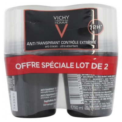 Vichy Homme 72HR Anti-Perspirant Deodorant Extreme Control Roll-On 2 x 50ml