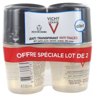 Vichy Homme Déodorant Anti-Transpirant 48H Anti-Traces Roll-On Lot de 2 x 50 ml
