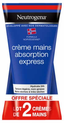 Neutrogena Crème Mains Absorption Express Lot de 2 x 75 ml