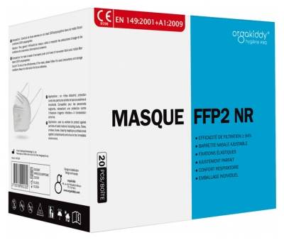 Orgakiddy Masque de Protection Respiratoire FFP2 NR 20 Masques