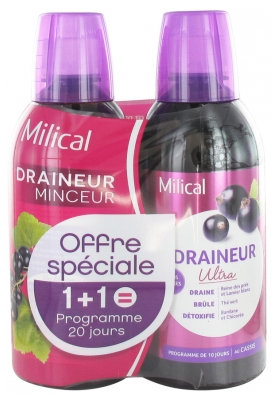 Milical Draining Ultra 2 x 500ml - Flavour: Blackcurrant