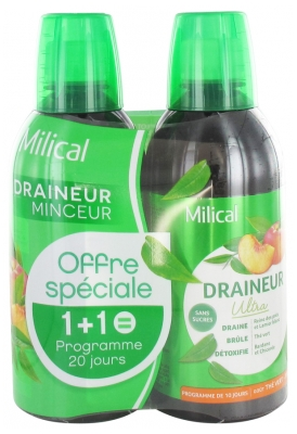 Milical Draining Ultra 2 x 500ml - Flavour: Green Tea / Peach