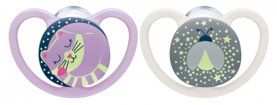 NUK Space Night 2 Silicone Soothers 0-6 Months