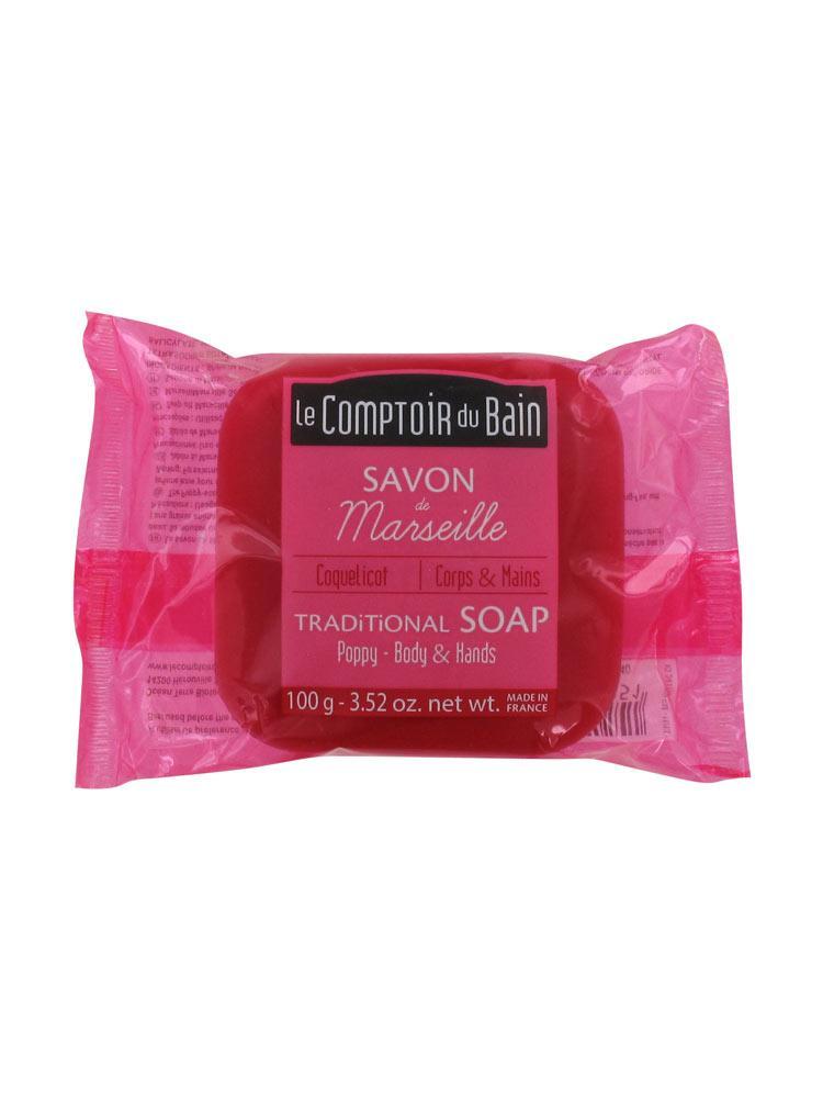Le comptoir du bain savon de marseille coquelicot 100 g for Le comptoir du meuble bruxelles