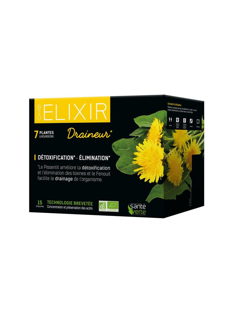 Santé Verte Bio Elixir Draineur 15 Ampoules - Acheter à