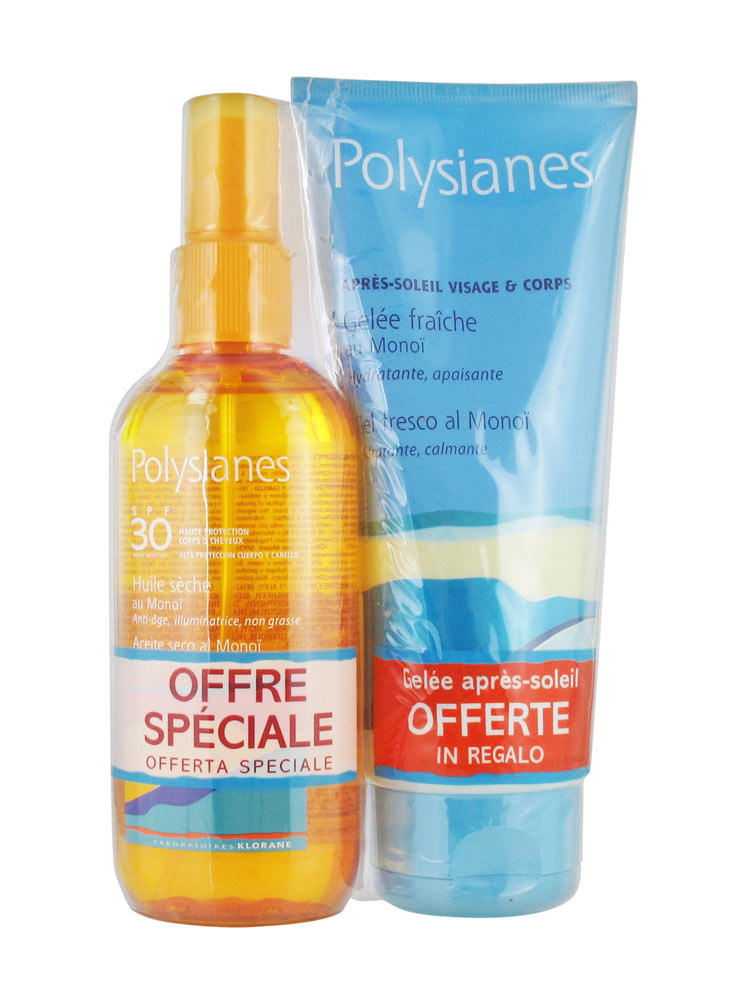 polysianes dry oil with mono spf 30 150ml after sun face body fresh jelly with mono 200ml free. Black Bedroom Furniture Sets. Home Design Ideas