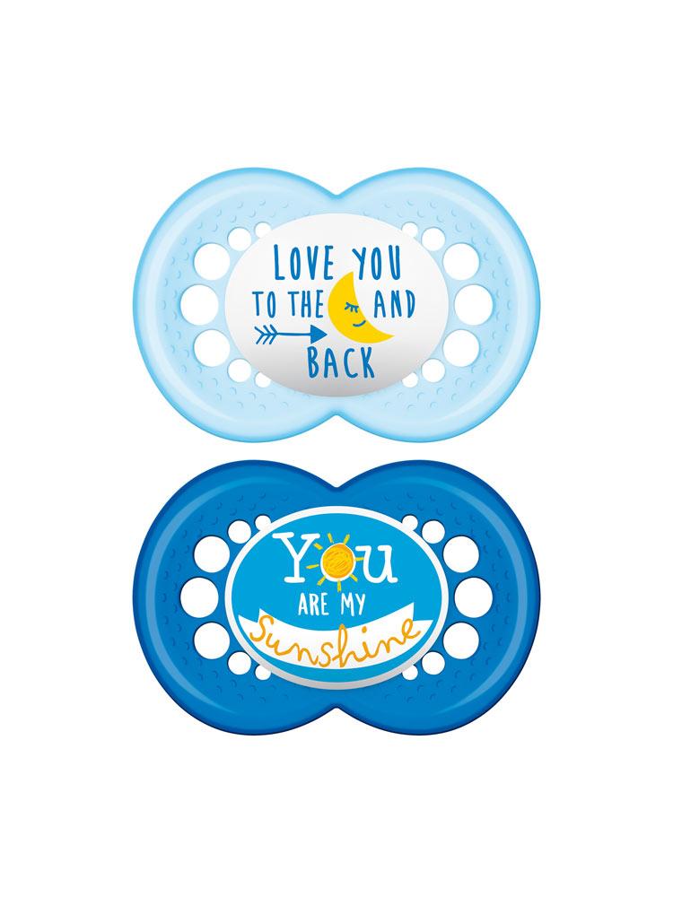 nuevo producto a0456 524dd MAM 2 Chupetes Anatómicos de silicona Decoración 6 meses o más - Color:  Love you to the moon and back et You are my sunshine