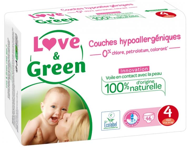 3er Pack 7-14 kg Gr/ö/ße 4 3 x 46 St/ück Monatspackung Love /& Green /ökologische Windeln