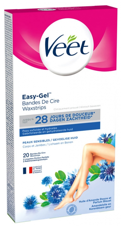 Veet Easy Gel Wax Strips For Body And Legs Sensitive Skins 20 Strips