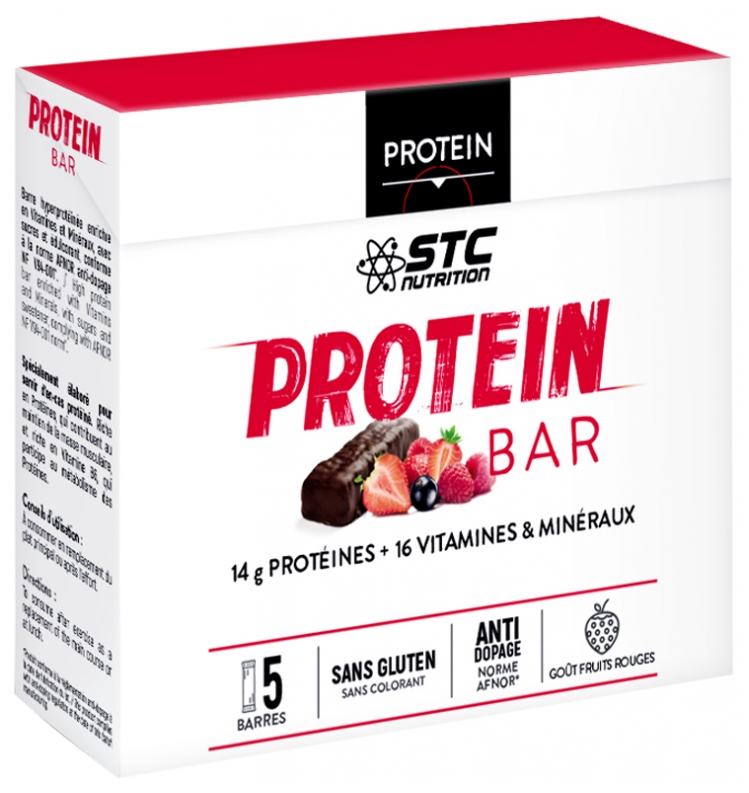 Stc Nutrition High Protein Bars Red Fruits Flavor 5 Bars X 46g