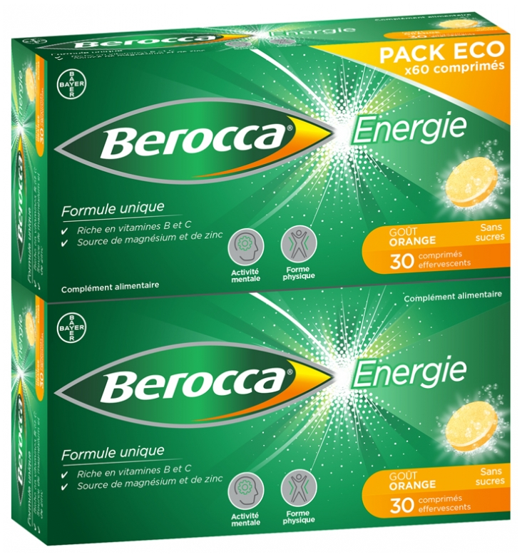 Berocca Energy 60 Effervescent Tablets Sugar Free Eco Pack